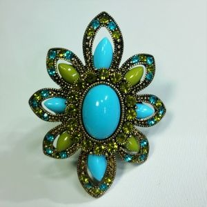 Teal Statement Cocktail Ring Stretch Band Flower